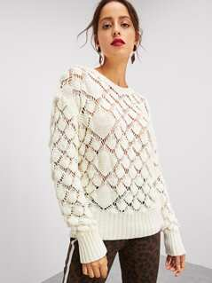 Drop Shoulder Eyelet Sweater