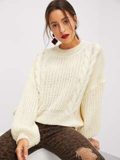 Cut-out Back Cable Knit Sweater