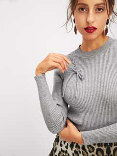 Lace Up Slim Fitted Ribbed Knit Sweater
