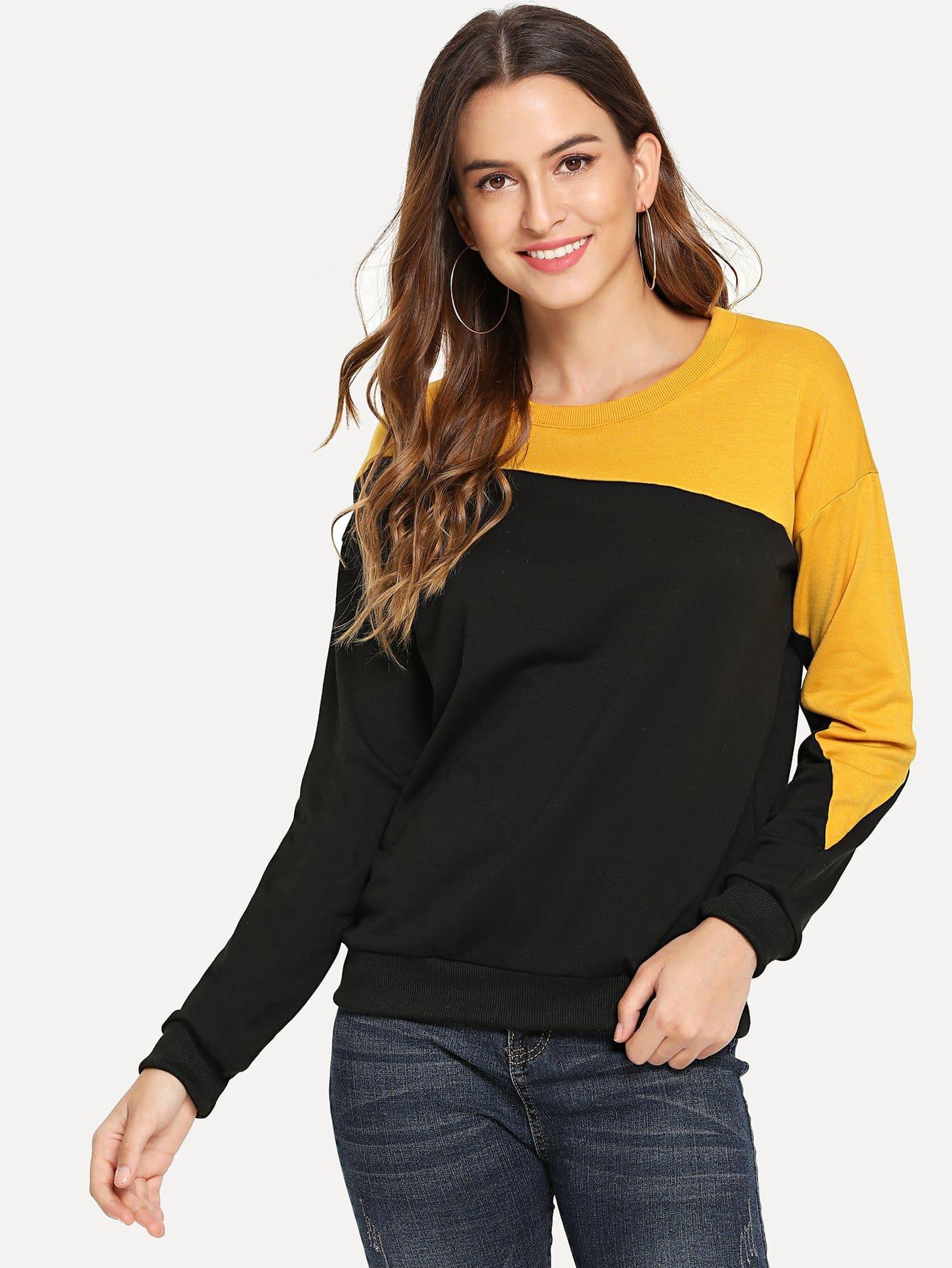 Купить Контрастный пуловер с круглым вырезом, Jana, SheIn