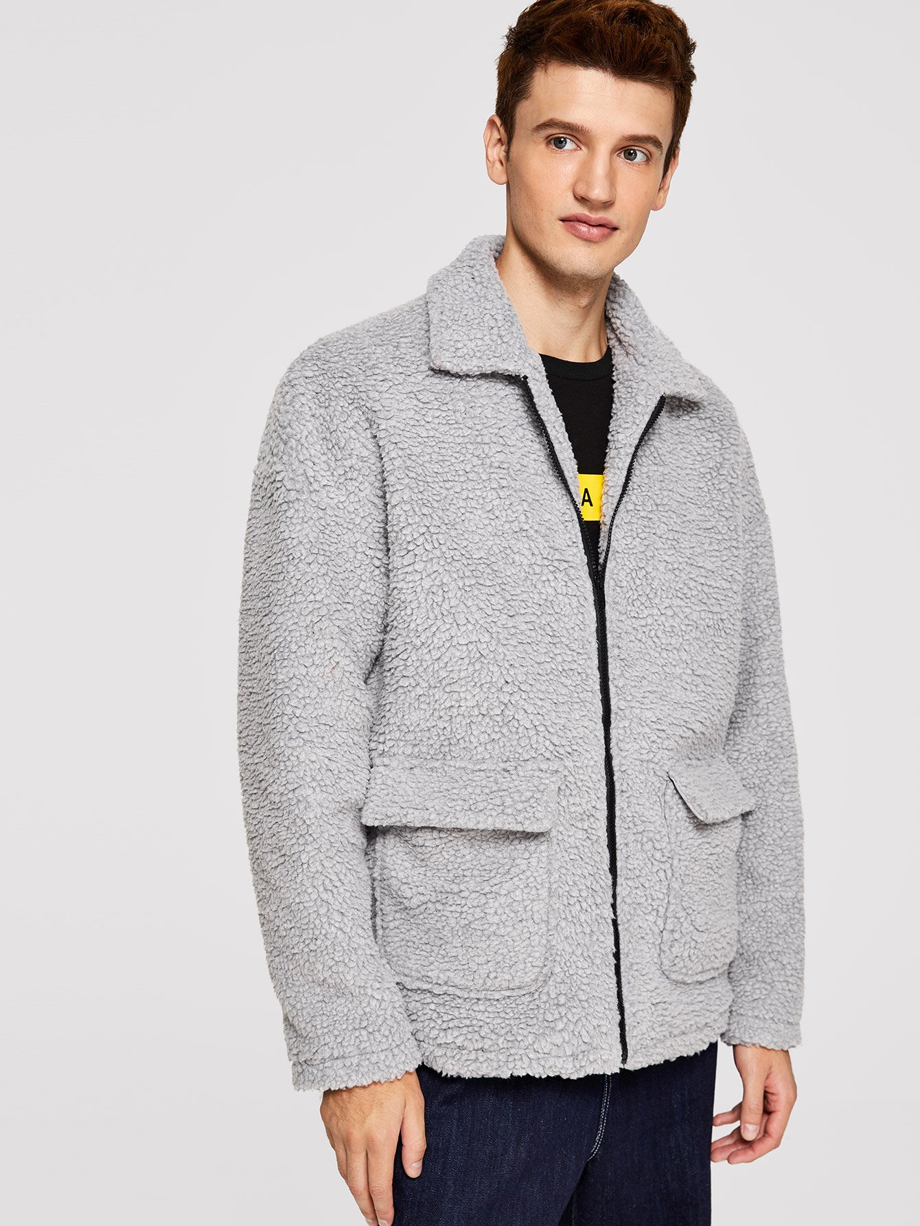 Купить Для мужчин тедди куртка на молнии с карманом, Oleg, SheIn