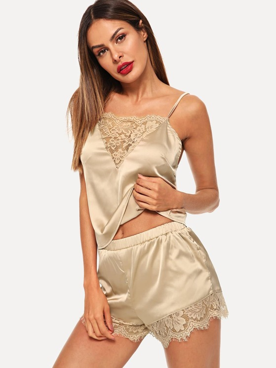 71d8b97f5a Lace Trim Satin Cami   Shorts Pajama Set
