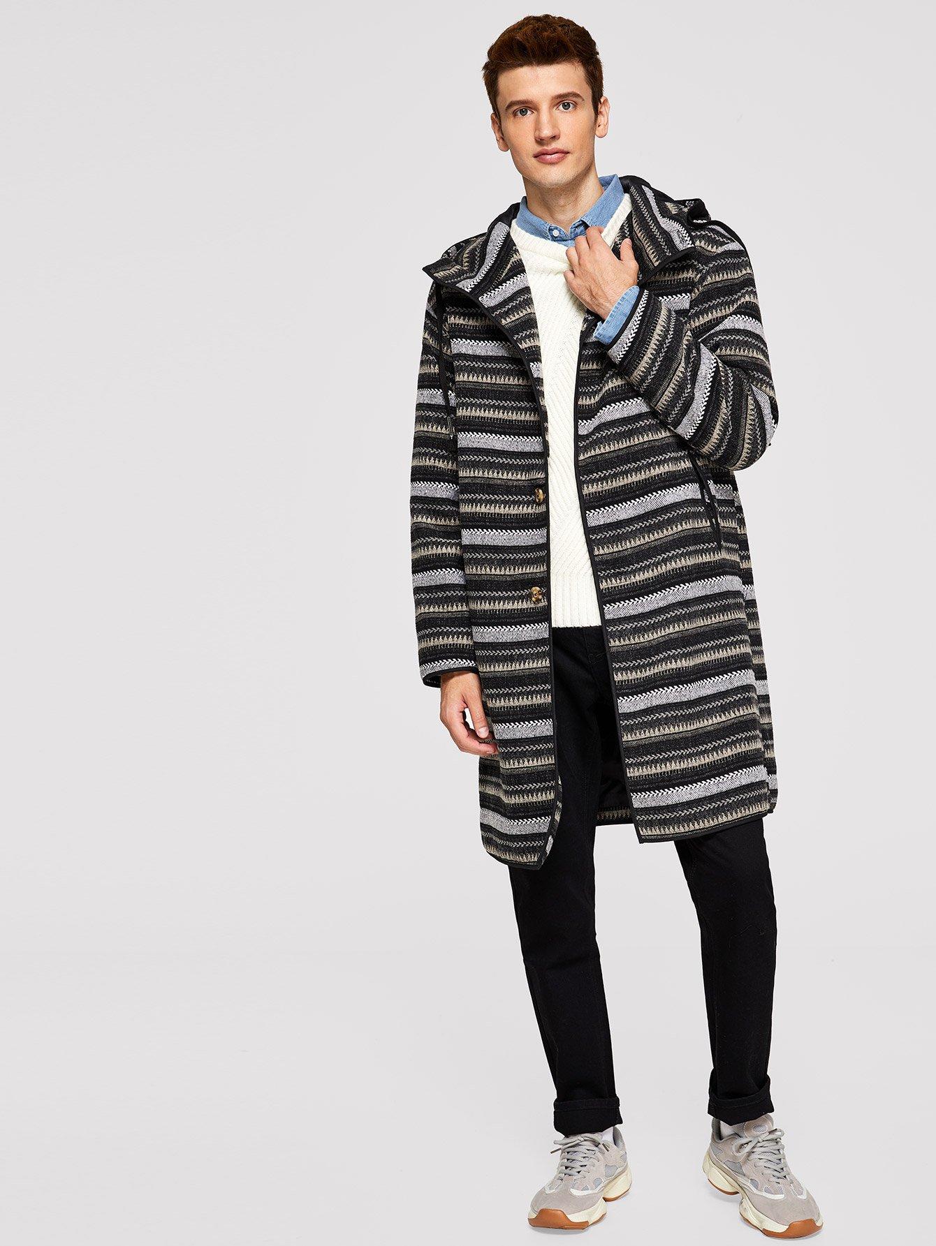 Купить Для мужчин пальто с капюшоном на пуговицах, Oleg, SheIn