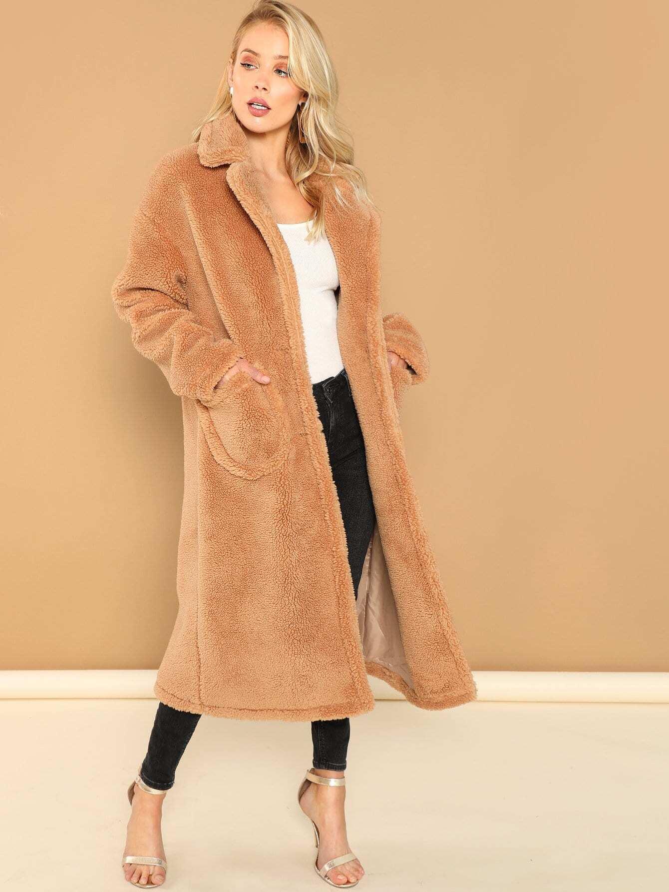 Купить Однобортное тедди пальто с зубчатым воротником, Allie Leggett, SheIn