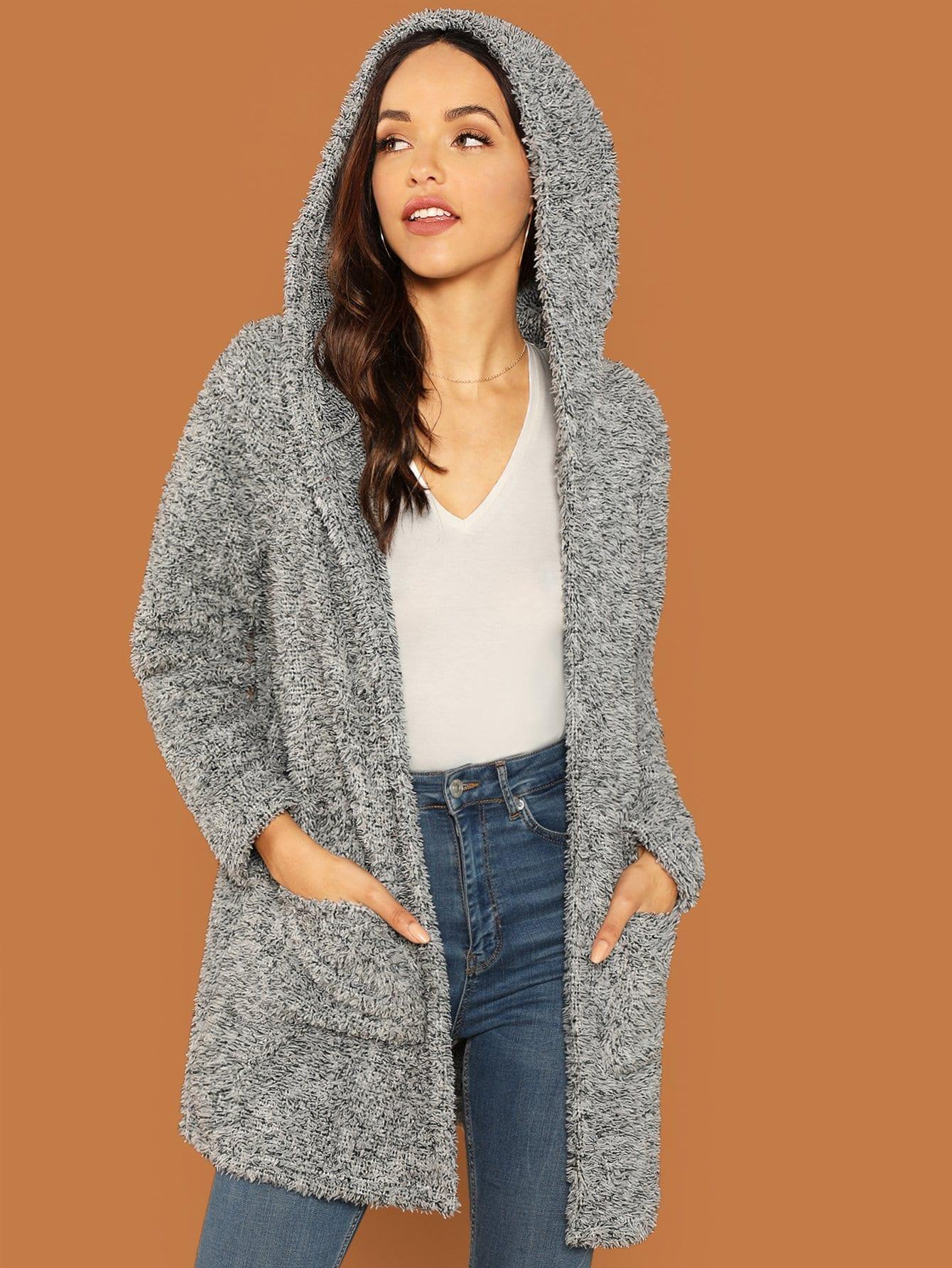 Купить Тедди пальто с карманом, Alexis Sheree, SheIn