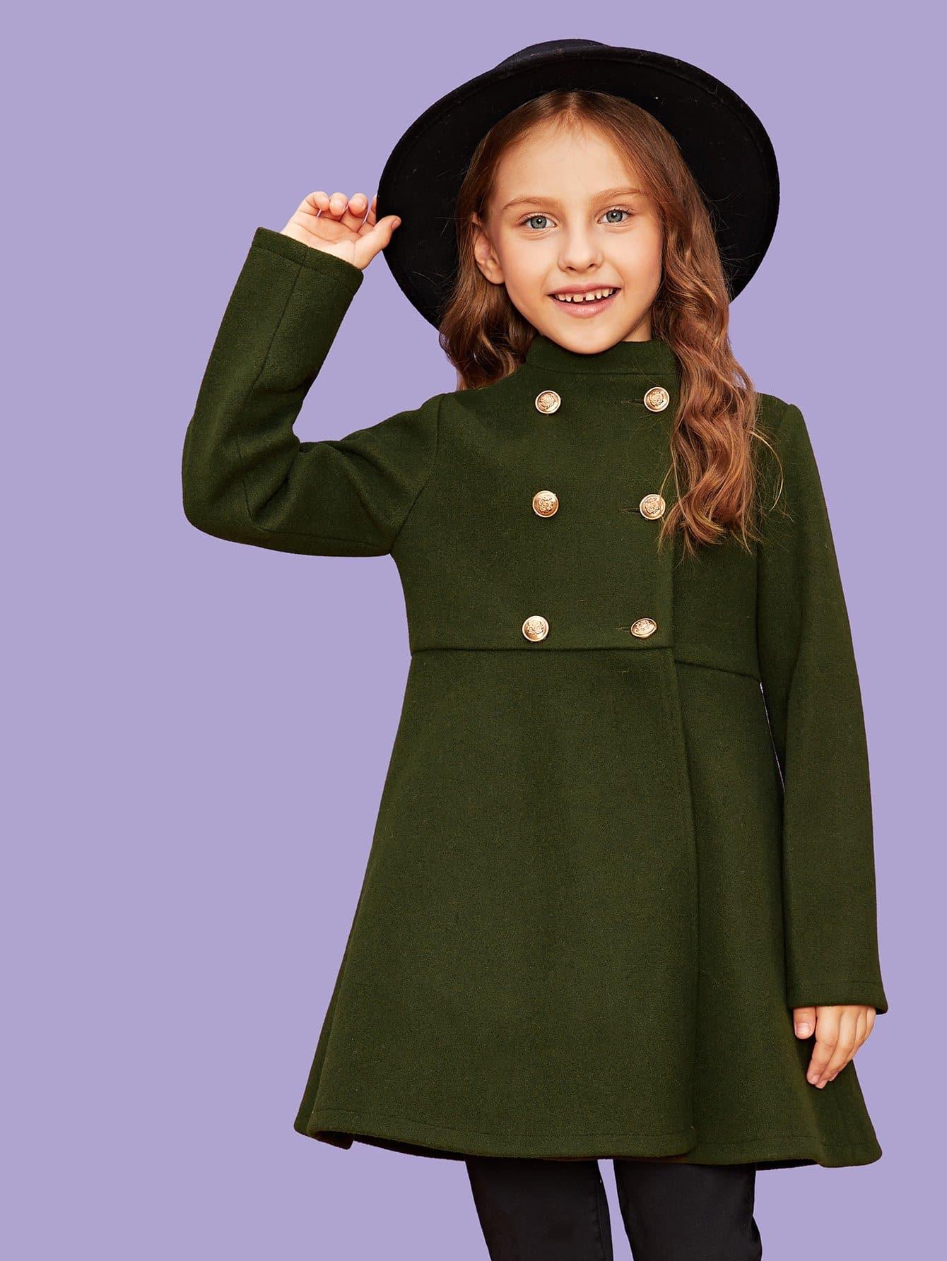 5d949ba7a44 Shein Для девочек двубортное пальто