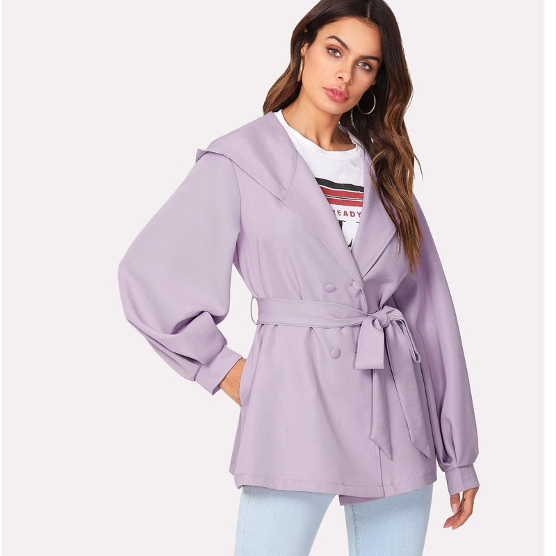 Self Belted Hoodie Coat, Purple