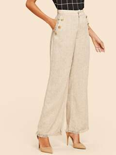 Wide Waist Frayed Trim Palazzo Pants
