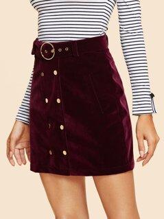 Double Button Belted Velvet Skirt