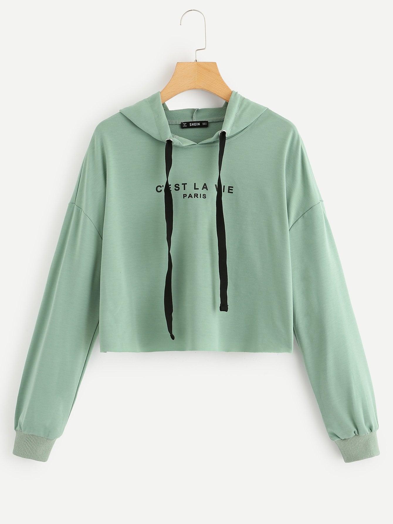 7514adbd84 Drop Shoulder Drawstring Hoodie Crop Sweatshirt | SHEIN