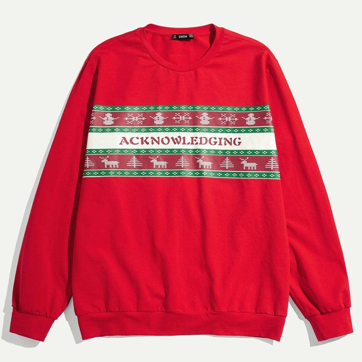 Для мужчин пуловер с рождественским принтом от SHEIN