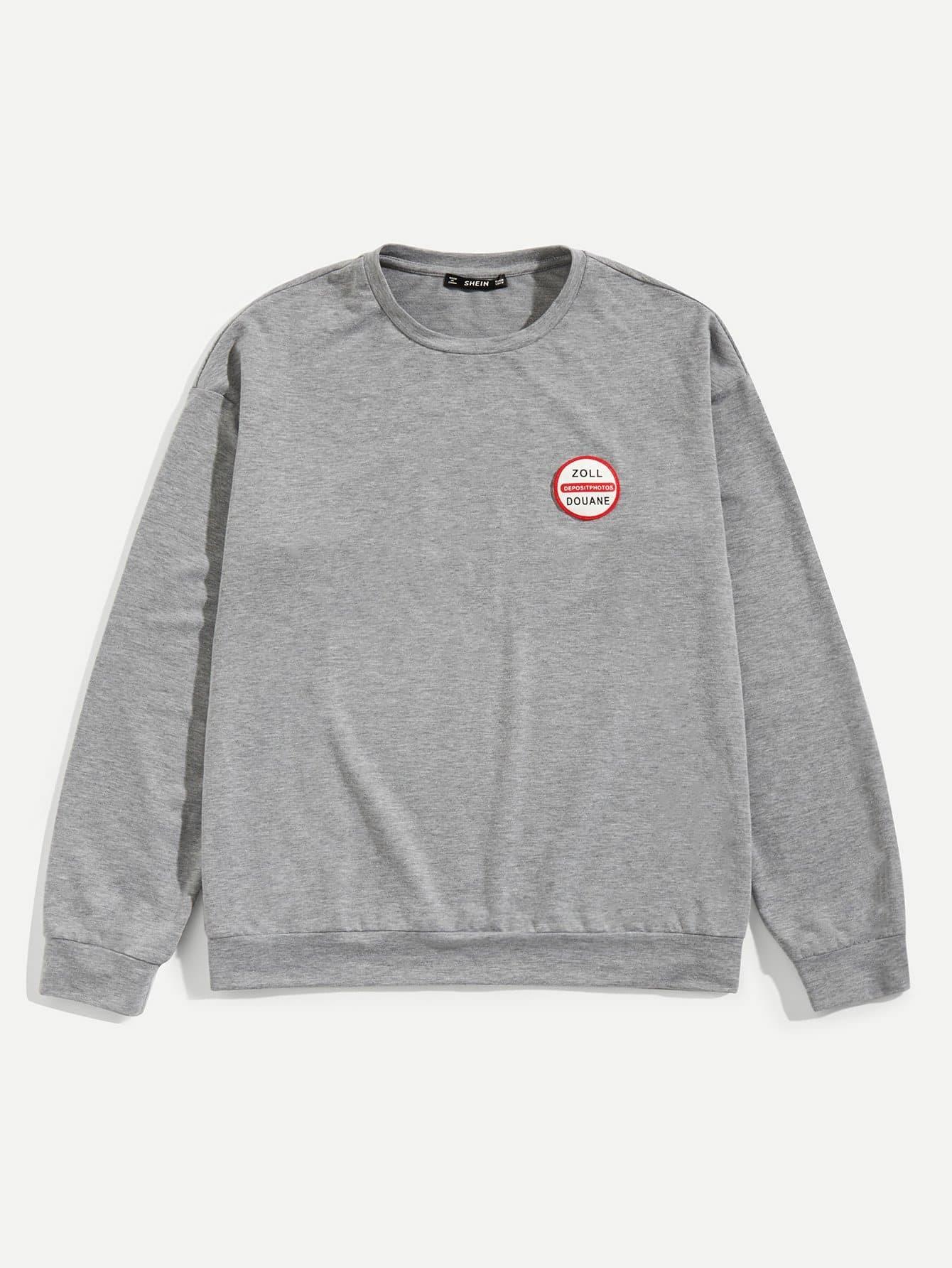 Фото - Для мужчин Одноцветный пуловер от SheIn серого цвета