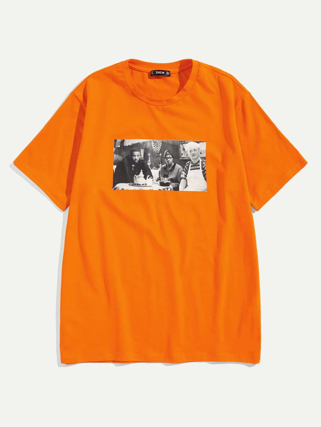 Купить Мужская футболка с принтом фигуры, null, SheIn