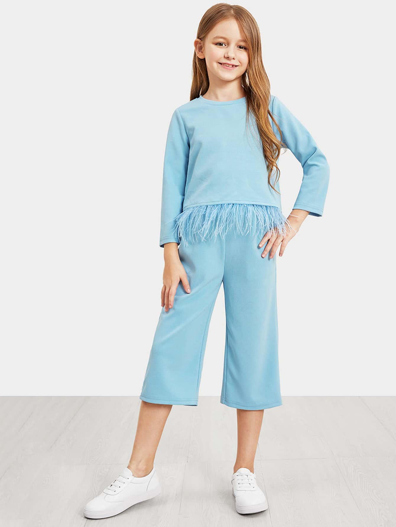 Купить Комплект брюки и топ из искусственного меха для девочек, Sashab, SheIn