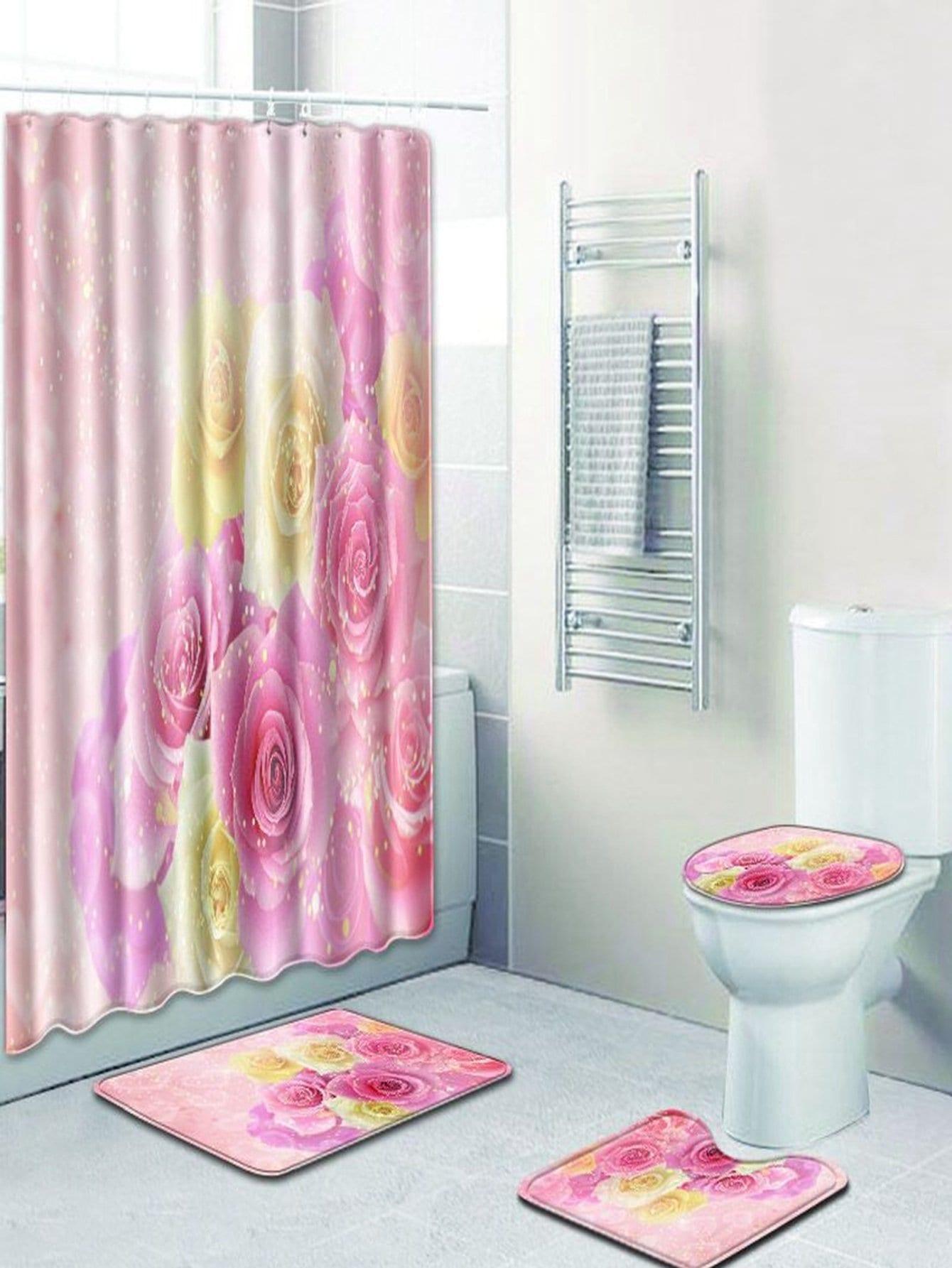 Купить 12 крючков цветочные душ шторы и ковер 3шт., null, SheIn