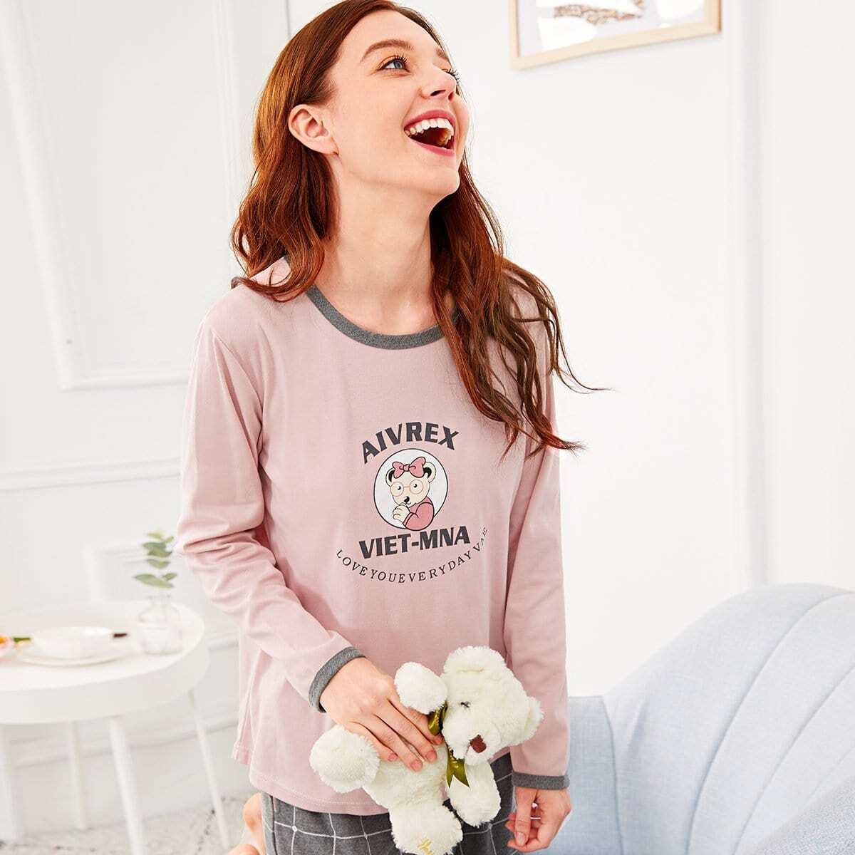 Bear & Letter Plaid Pyjama Set