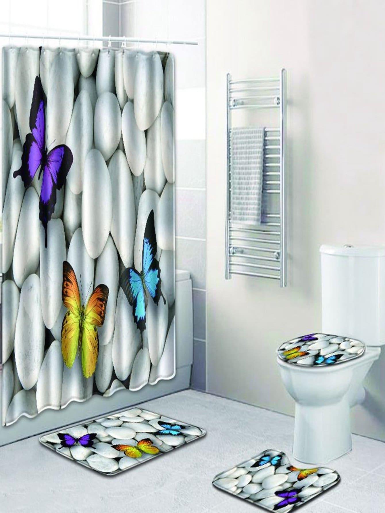 Купить 12 крючков душ шторы и ковер 3шт.с принтом бабочкой, null, SheIn