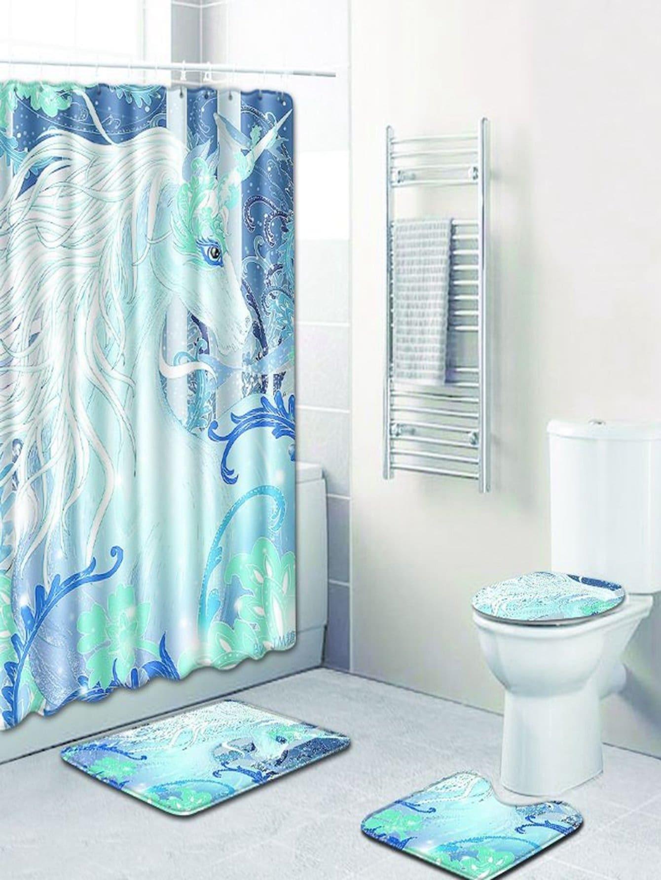Купить 12 крючков единорог душ шторы и ковер 3шт., null, SheIn