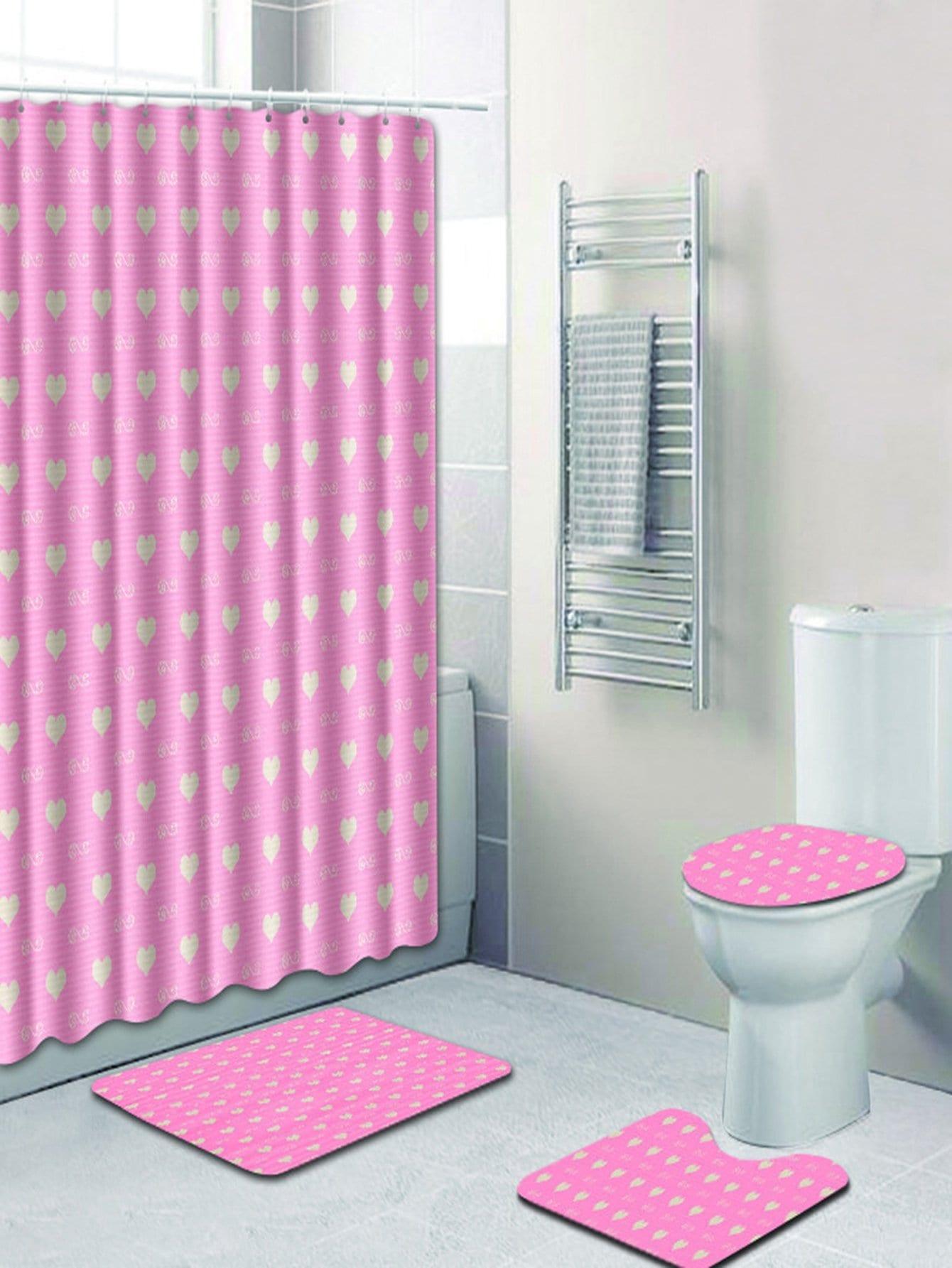 Купить 12 крючков душ шторы и ковер 3шт.с принтом сердец, null, SheIn