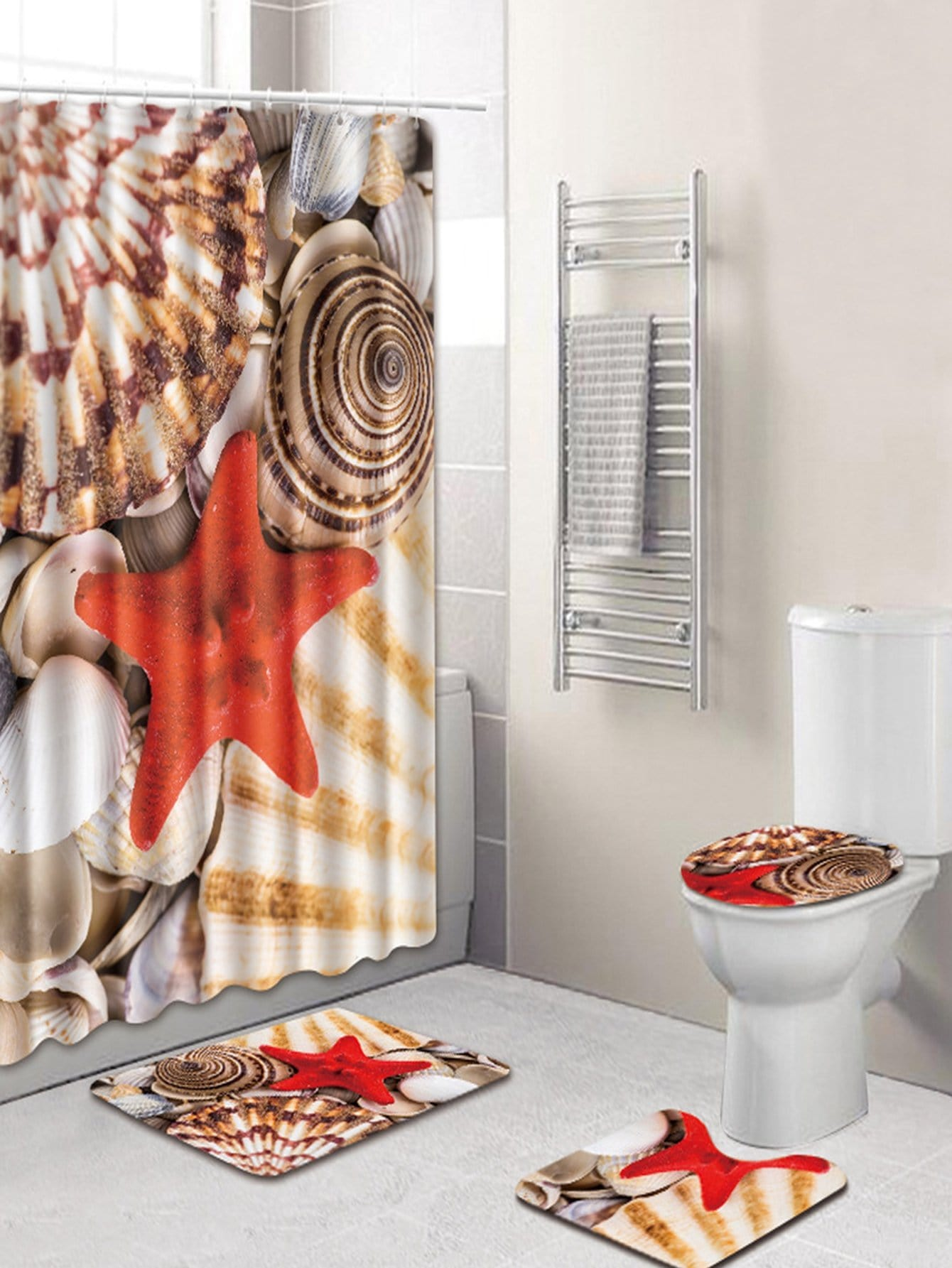 Купить 12 крючков душ шторы и ковер 3шт.с морской звездой, null, SheIn
