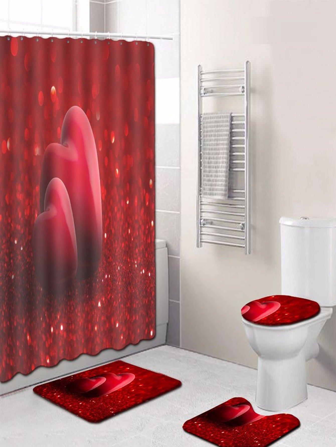 Купить 12 крючков Пламя душ шторы и ковер 3шт., null, SheIn