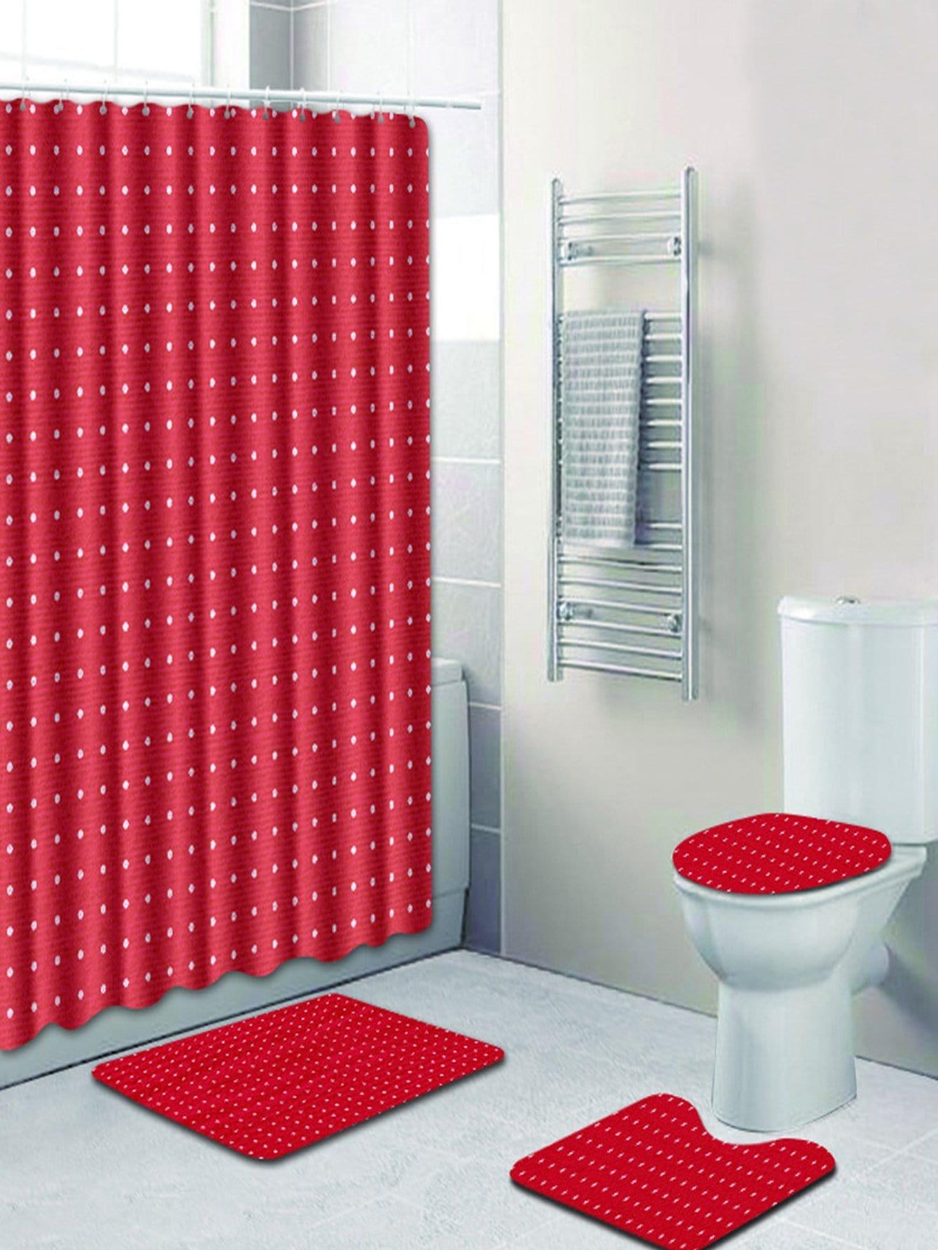 Купить 12 крючков душ шторы и ковер 3шт.в горошек, null, SheIn