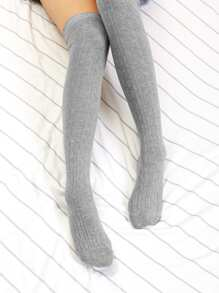 Grey Casual Plain Socks & Tights, size features are:Bust: ,Length: ,Sleeve Length: