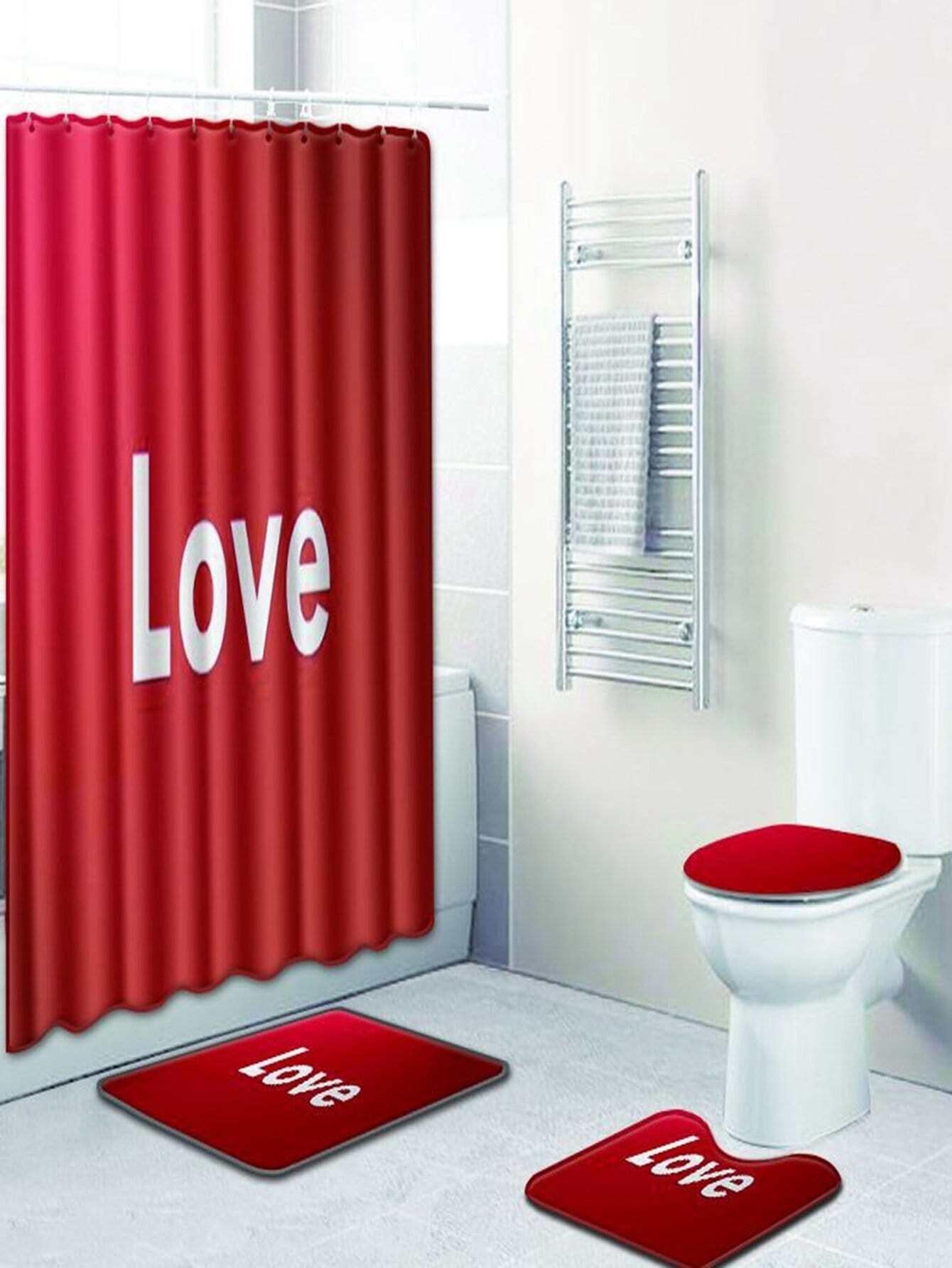 Купить 12 крючков душ шторы и ковер 3шт.с текстовым принтом, null, SheIn
