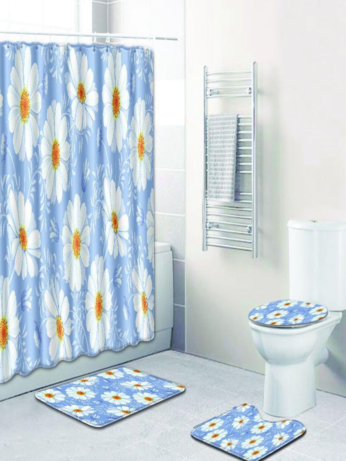 Купить Цветочные 12 крючков душ шторы и ковер 3шт., null, SheIn