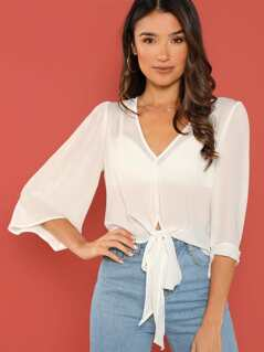 Knot Front Sheer Top