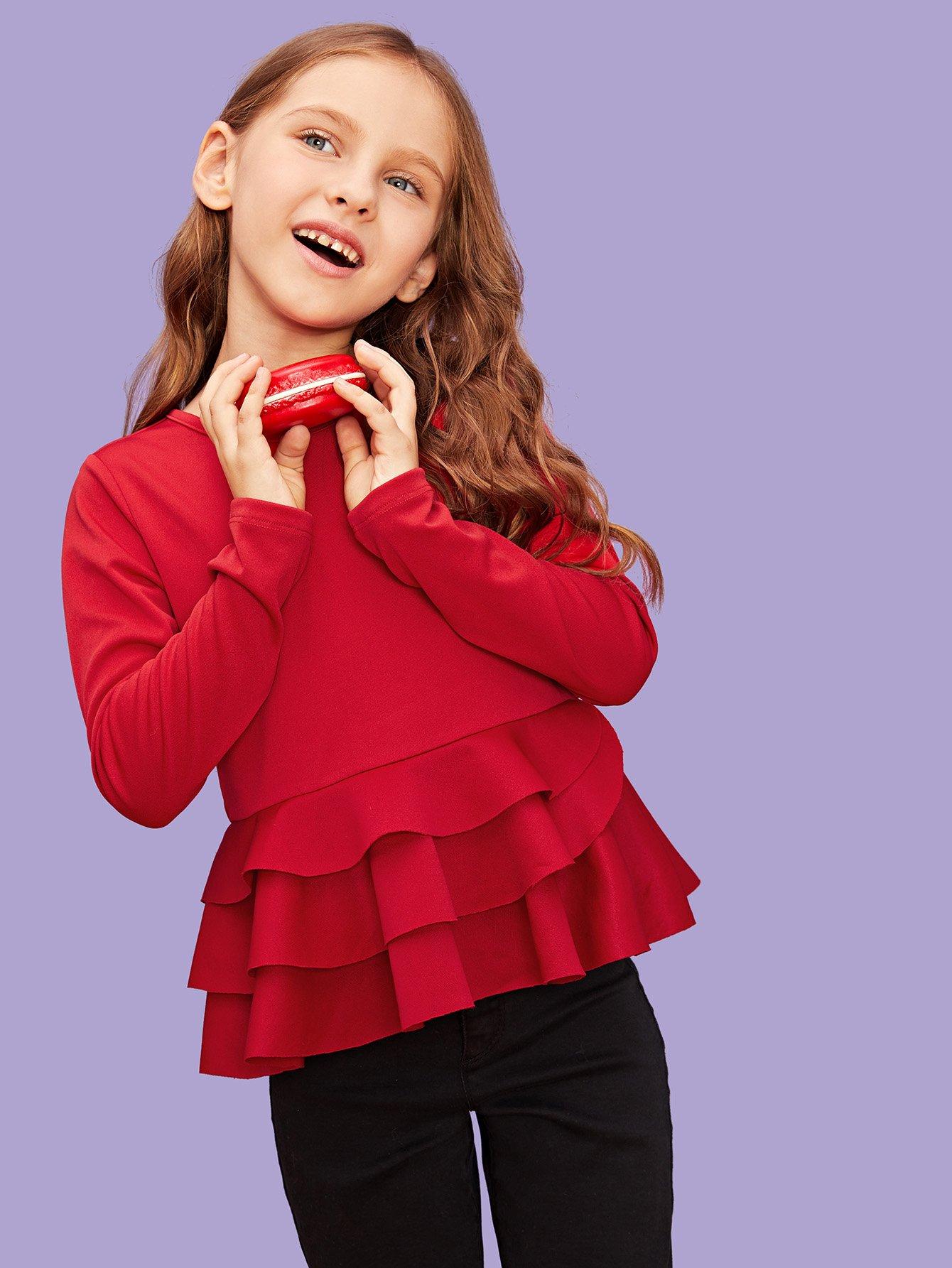 Купить Для девочек многоуровневое слои подол блузка, Anna C, SheIn