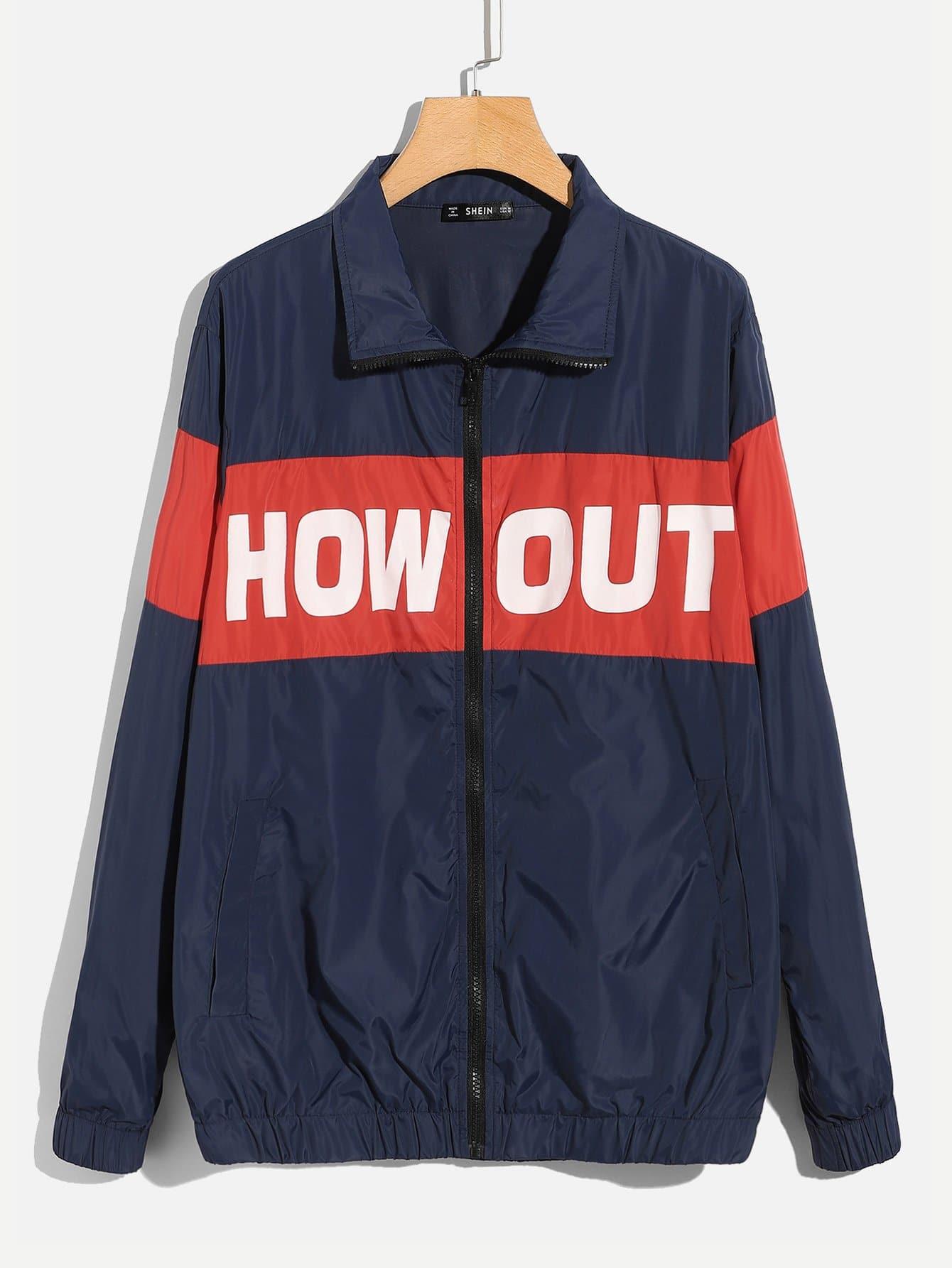Фото - Для мужчин куртка на молнии с текстовым принтом от SheIn цвет темно синий