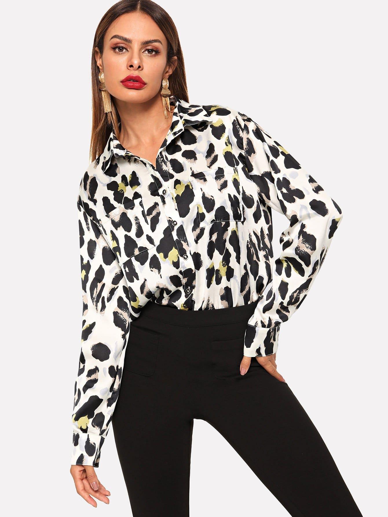 Купить Леопардовая футболка с карманами и кривой подол, Andy, SheIn