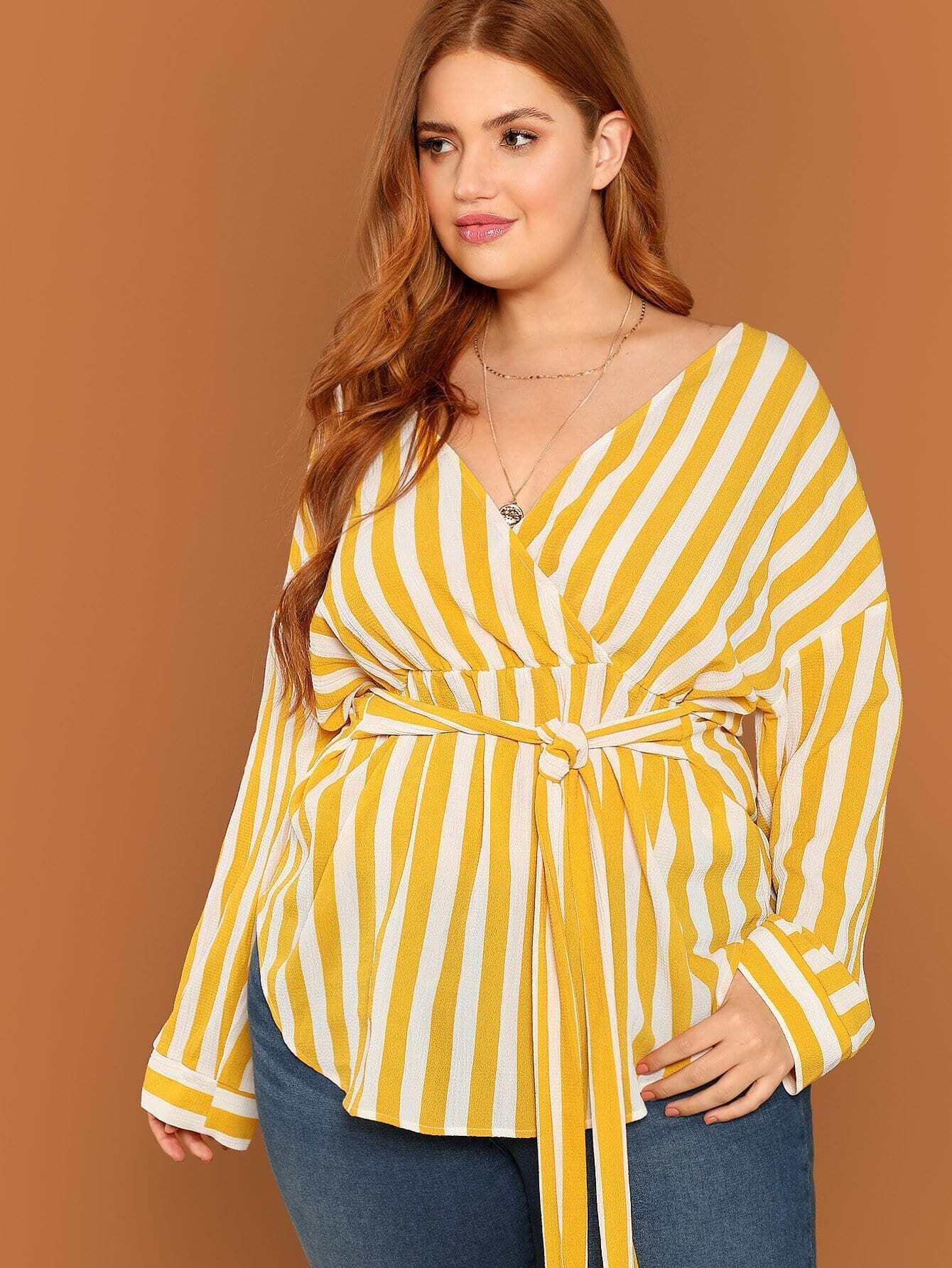 Купить Плюс размеры полосатая блузка с v-образным вырезом, Bree Kish, SheIn