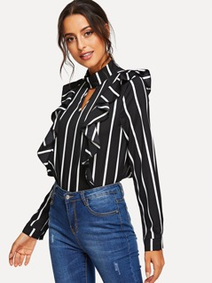 V Cut Choker Neck Ruffle Trim Striped Top