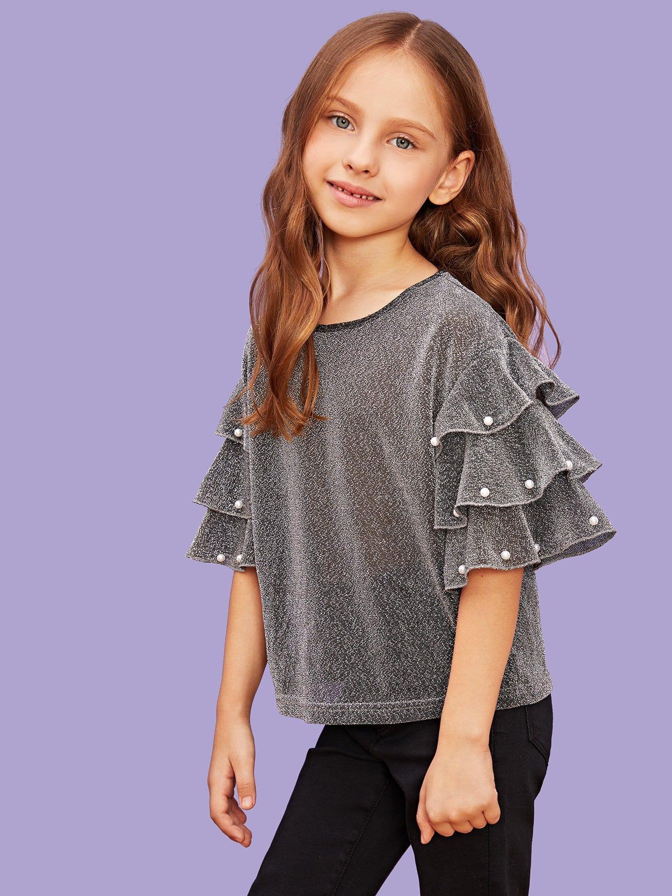 Купить Для девочек блестящий топ со слоистым рукавом с бисерами, Anna C, SheIn