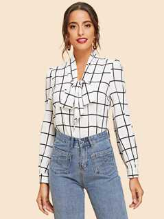 Tie Neck Grid Blouse