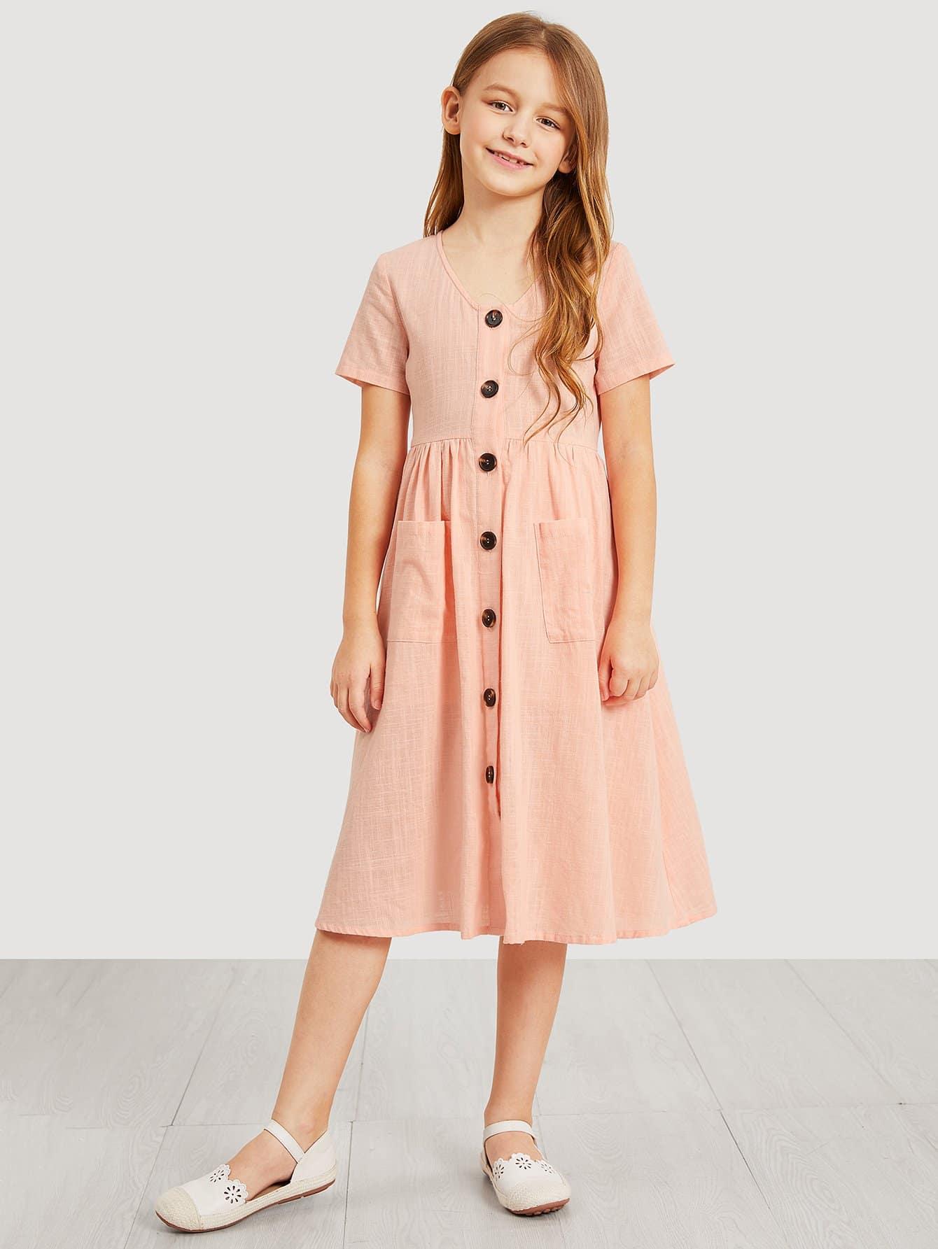 Купить Платье-рубашка с украшением пуговицы и кармана для девочки, Sashab, SheIn