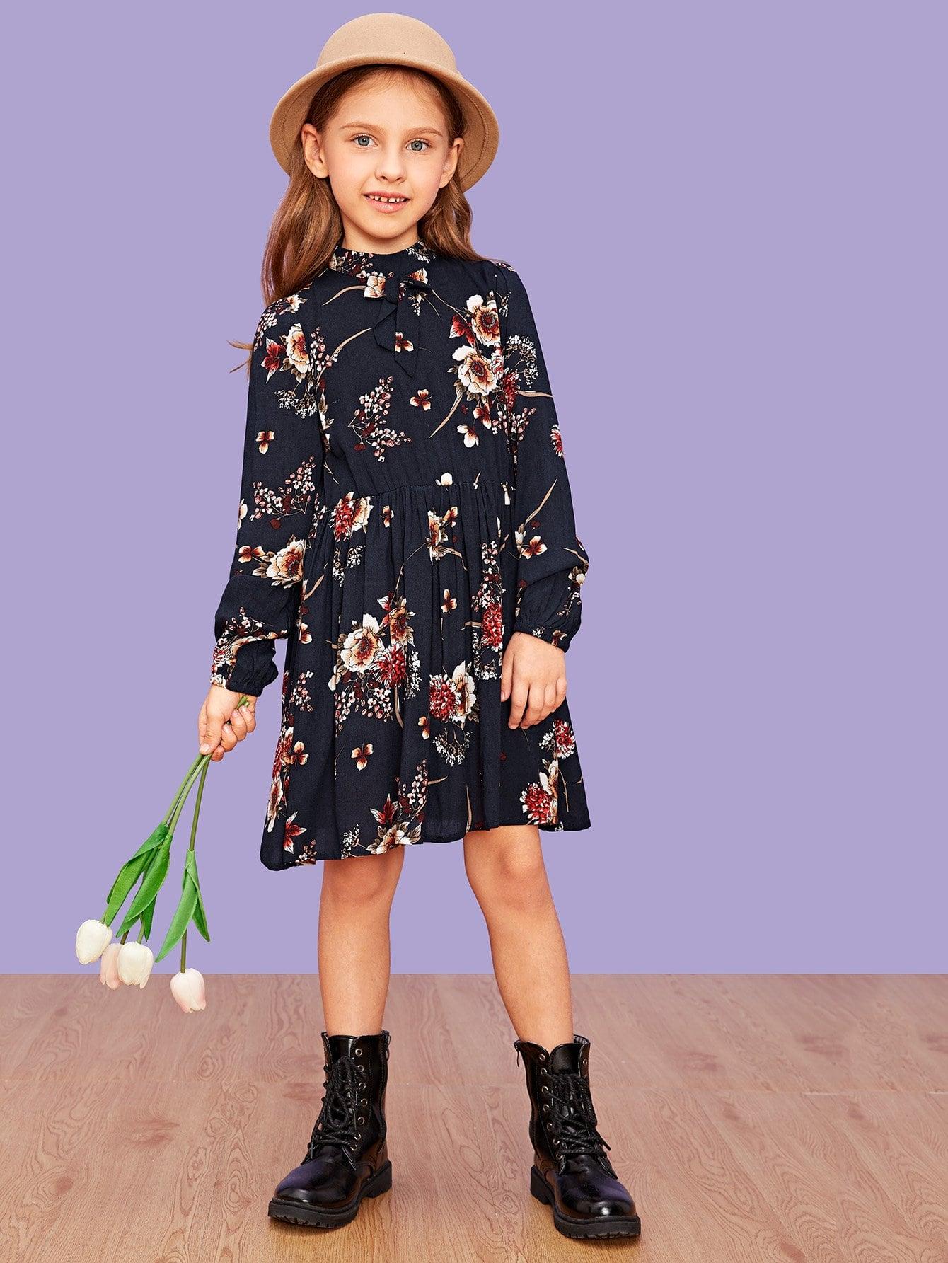 Купить Для девочек цветочное платье с ложным воротником, Anna C, SheIn