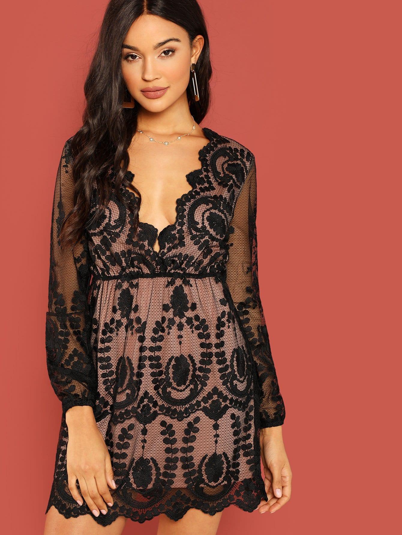 Купить Сетчатое платье с вышивкой и низким V-образным вырезом, Juliette, SheIn