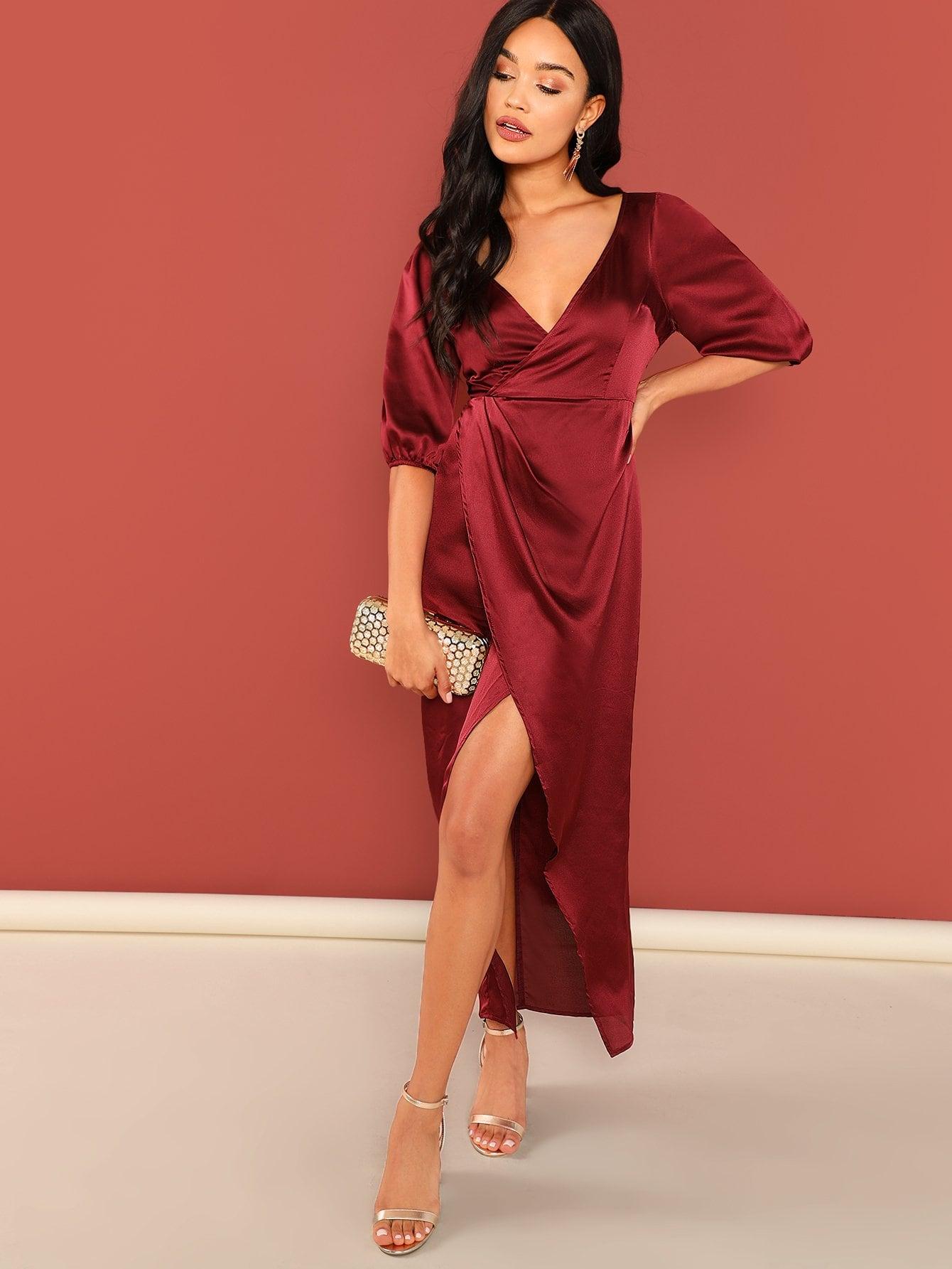 Купить Разделение платье с v-образным вырезом, Juliette, SheIn