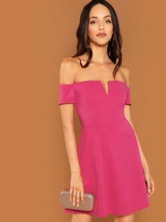 Neon Pink Off Shoulder Solid Dress