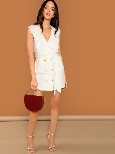 SheIn / Double Breasted Belted Shell Dress