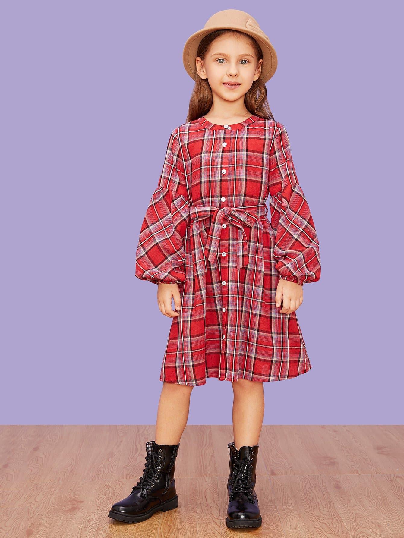 Купить Для девочек платье в клетку на пуговицах с завязкой на талии, Anna C, SheIn