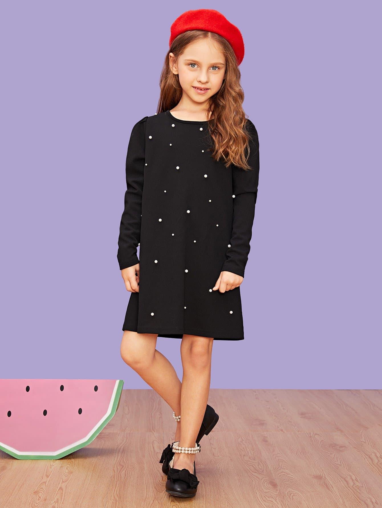 Для девочек туника платье с бисерами от SheIn