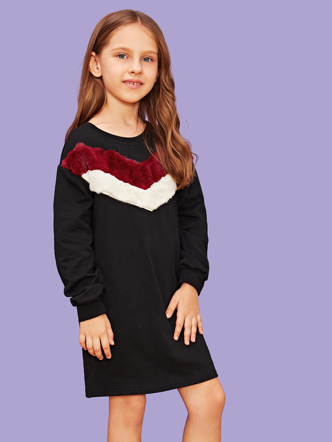 Для девочек туника платье с искусственным мехом от SheIn