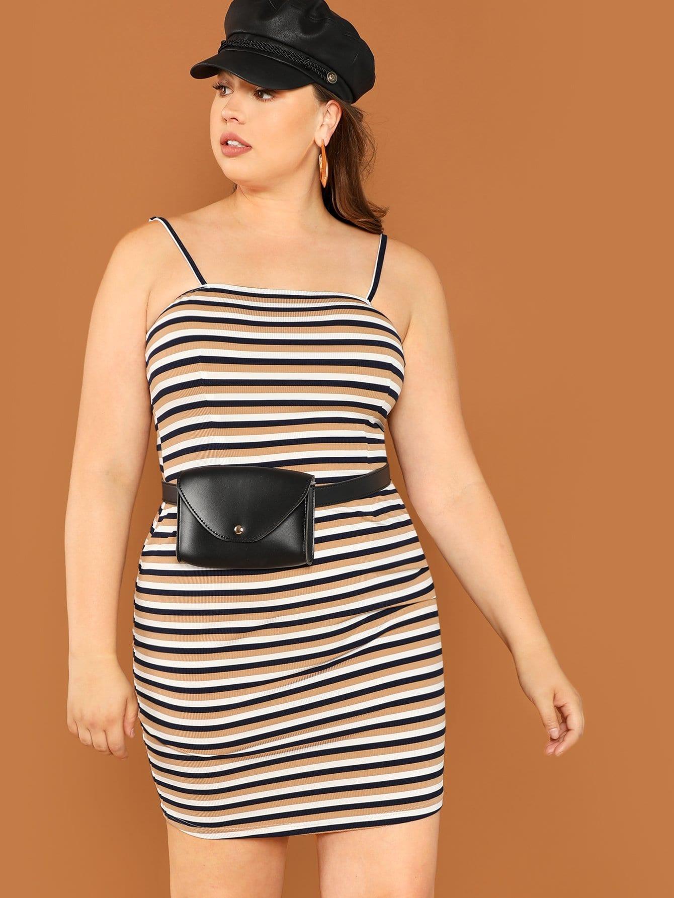 Плюс размеры полосатое платье без рукавов