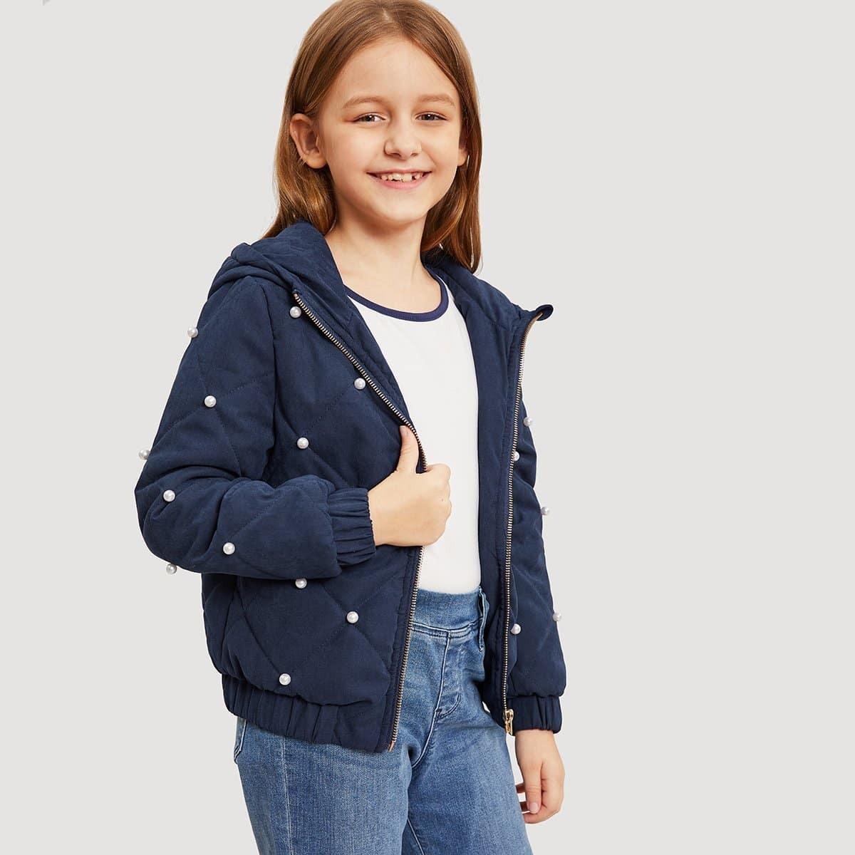Для девочек куртка с капюшоном на молнии от SHEIN