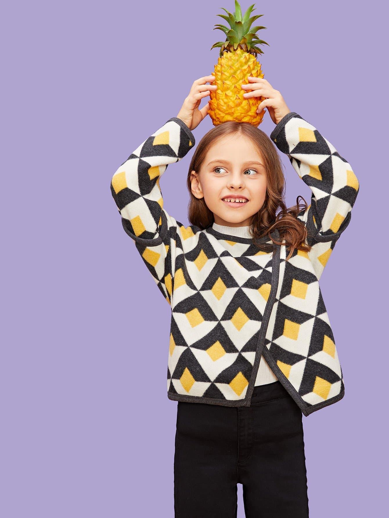 Купить Ветровка с принтом геометрических фигур для девочек, Anna C, SheIn