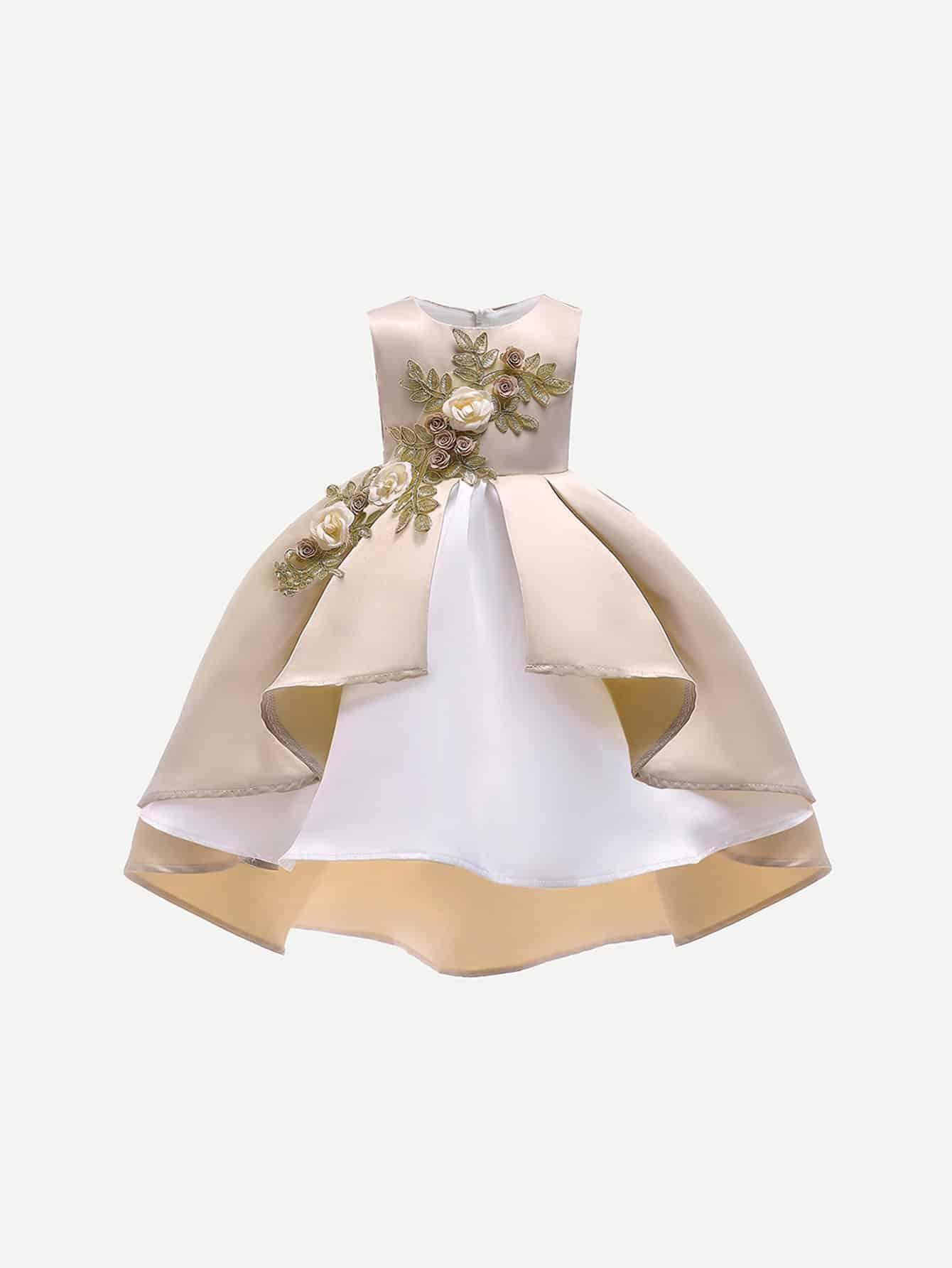 Купить Для маленьких девочек аппликация платье с асимметричным низом, null, SheIn